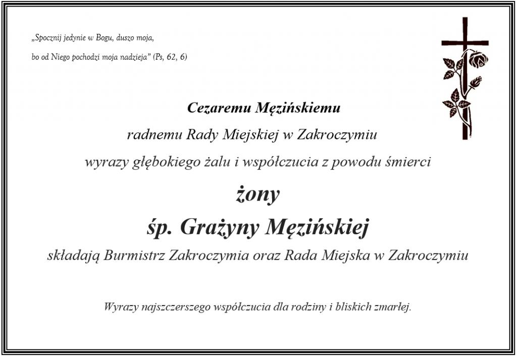 Kondolencje dla radnego Cezareo Męzińskiego z powodu śmierci żony.