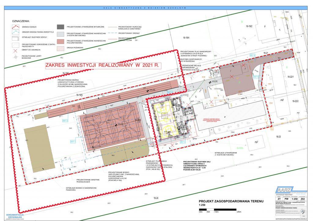 Plan infrastruktury sportowej przy szkole w Wojszczycach